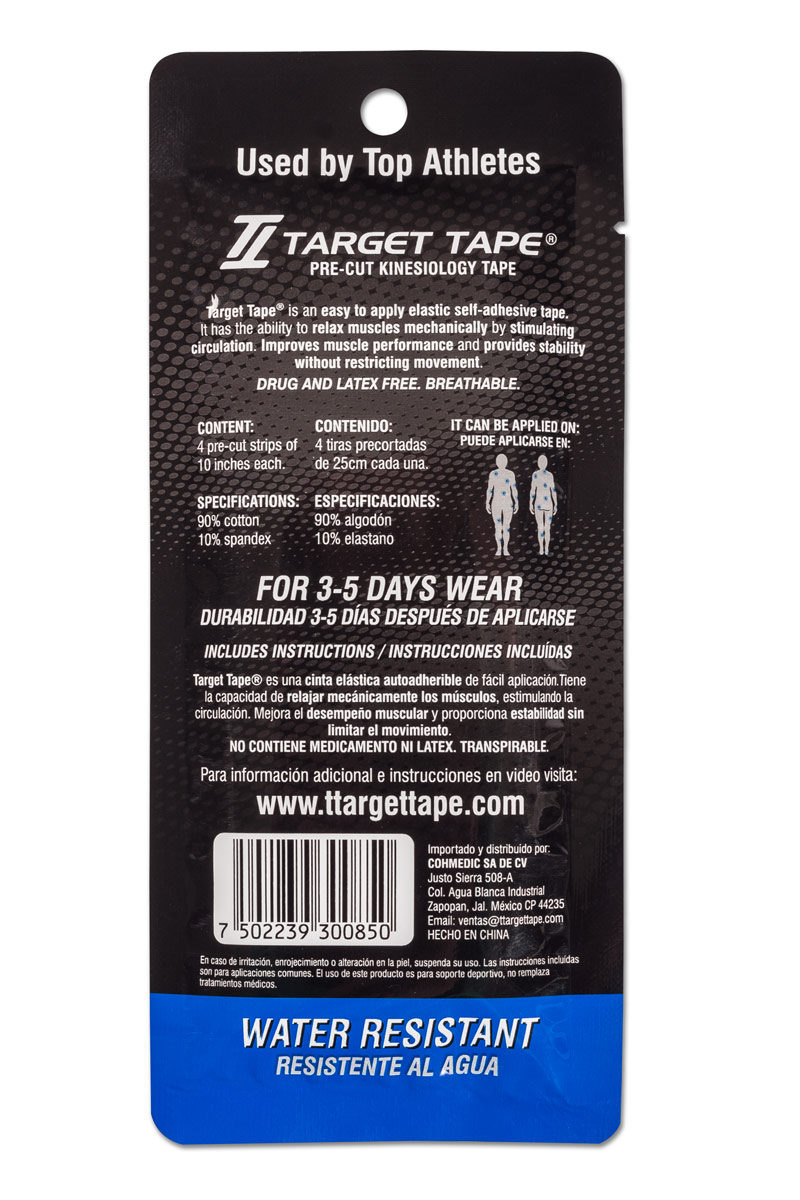 TT Target Tape precut blister pack back - Blue