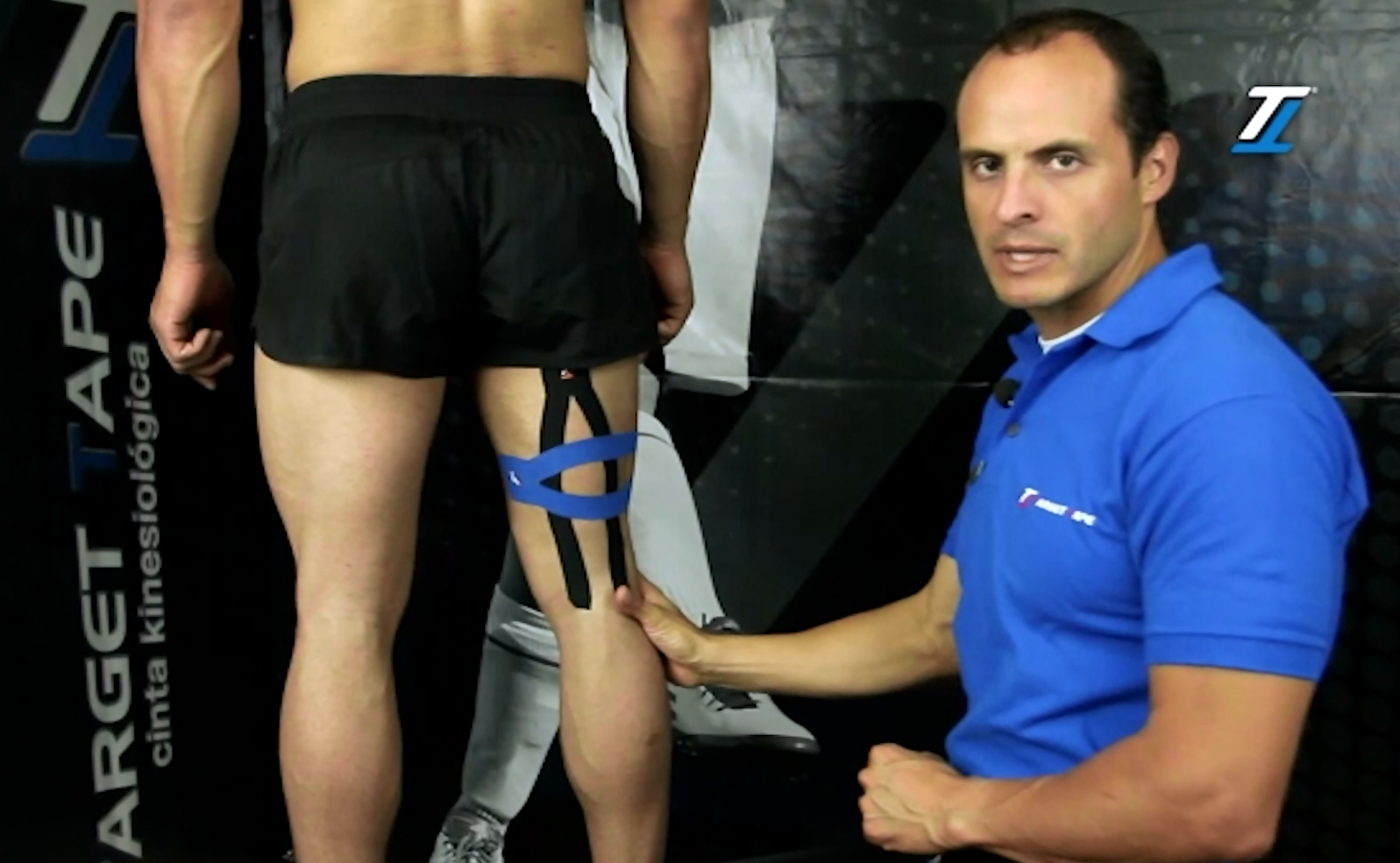 Hamstring kinesiology tape application